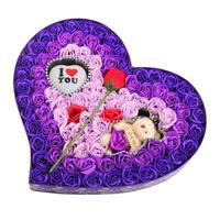 100 Stks/doos Rose zeep boeket gift bruiloft zeep decoratieve bloem kunstmatige bloemen doos met Beer Licht Valentijnsdag Gift L15