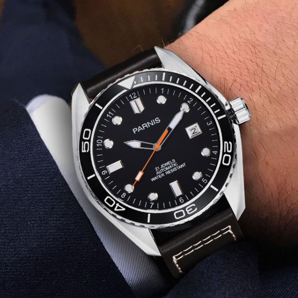 45mm Parnis Black Dial Waterproof Diver Automatic Watch Mechanical Watches Rotatig Bezel 5ATM Sapphire Wrist mens Watch45mm Parnis Black Dial Waterproof Diver Automatic Watch Mechanical Watches Rotatig Bezel 5ATM Sapphire Wrist mens Watch