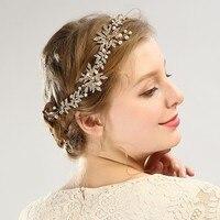 זהב בעבודת יד שושבינה אבזרים לשיער כיסוי ראש הכלה יהלומים מלאכותיים תכשיטי שיער תחרות החתונה קריסטל פרח עלה לכלה