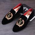 Genuine leather 2017 Men's New arrival Velvet shoes loafers leather men flats Exquisite black Tassel Smoking Slipper US size 9