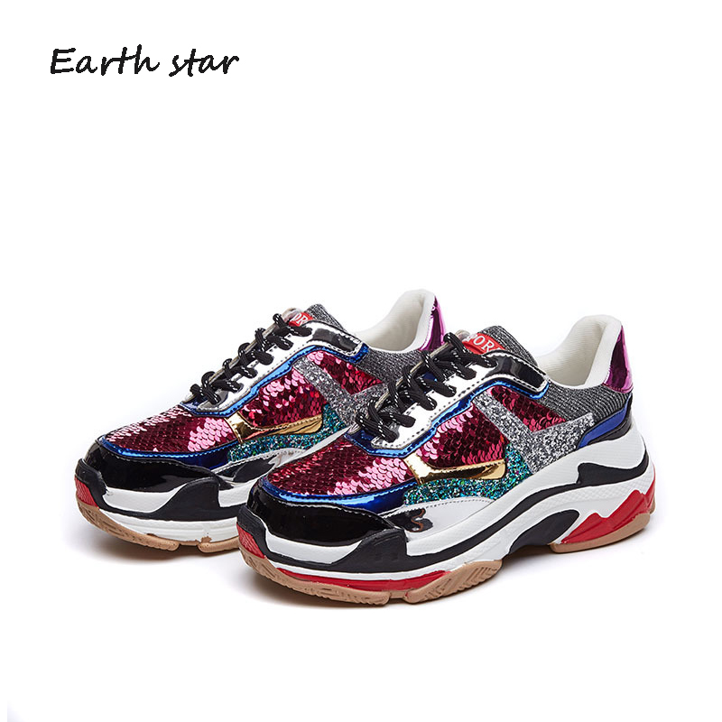 Aliexpress.com   Buy EARTH STAR Autumn Girl New Fashion Brand Shoes Women  Glitter Sneakers Cross tied Sequins Lady Platform Shoes Bling Breathable  from ... 8e6e0801c807