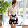 Original New 2016 Brand Shirts Women Puff Short Sleeve Slim Vintage Casual Ruffle Collar Summer Women Blouses White Wholesale