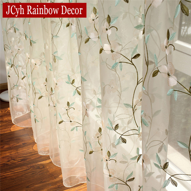 Floral Embroidered Sheer Tulle Curtains 5