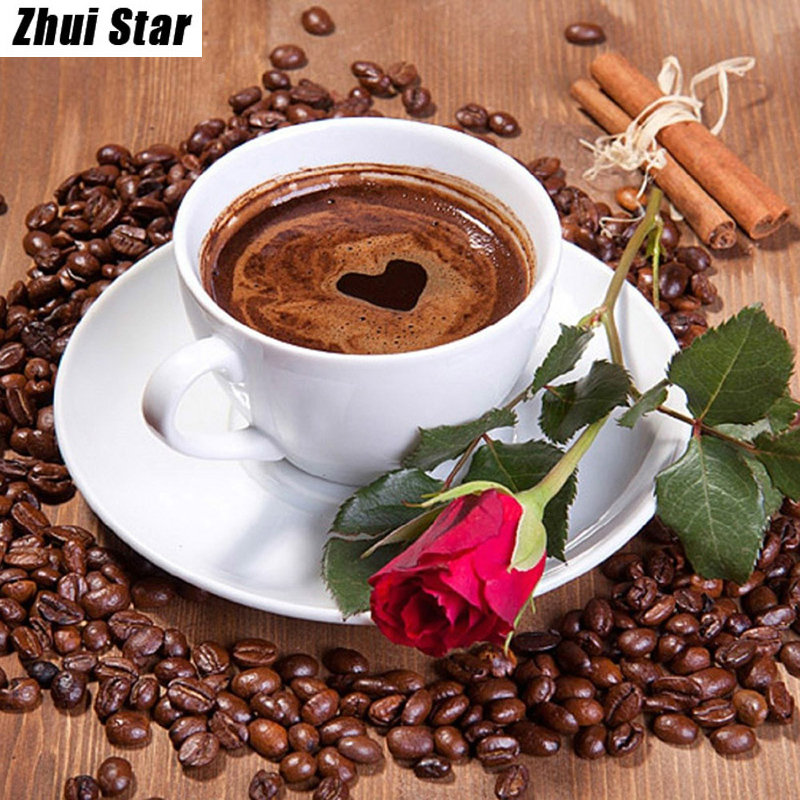 "Noua 5D DIY Diamond Painting ""Cafea si trandafir"" Broderie Full Square Diamond Cross Stitch Stras Mozaic Pictura Decor Cadou"