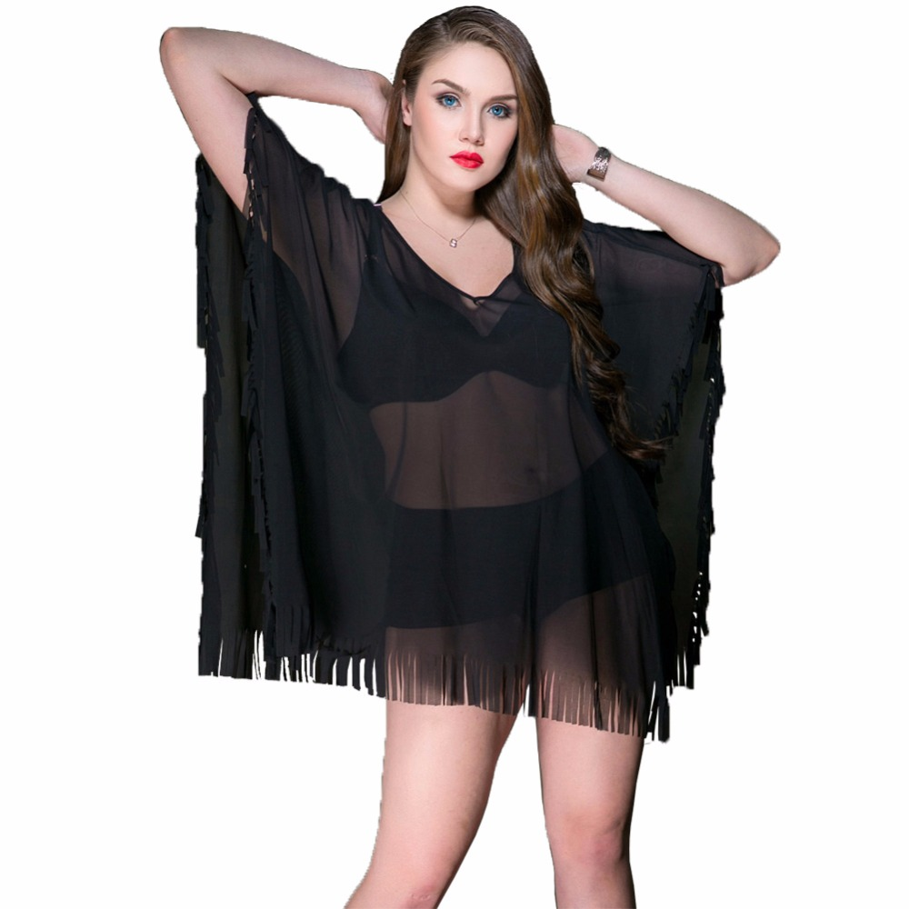 Women Sexy Bikini Beach Cover-up big size Swimsuit Tassles Bathing Suit Summer De PlageWear Pareo Swimwear Mesh Dress Tunic Robe