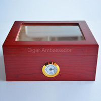 High Quality Simple Cool Design Red Wood Grain Surface Clear Top Wooden Cigar Humidor Storage Box