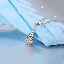 Silver Necklace Female Short Design Crystal Shambhala Drill Ball Pendant Necklace for Women Crystal Water Drop Pendant Necklace