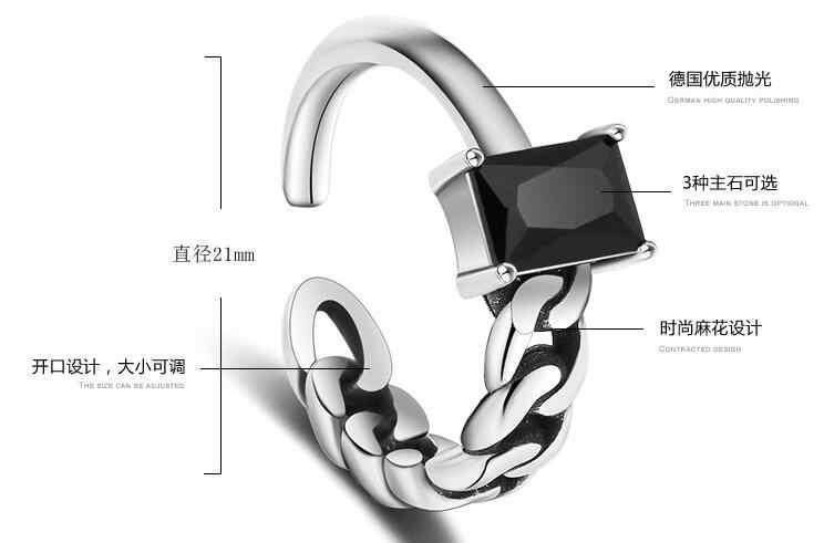 925 เงินสเตอร์ลิงเครื่องประดับเปิดสีดำคริสตัล Retro Asymmetry แหวนผู้หญิงของขวัญแหวน Anillos Bague VRS2219