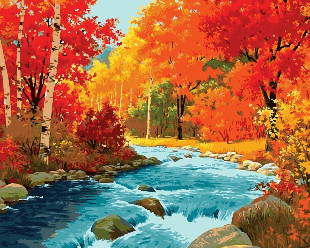 DIY herfst wind esdoornblad canvas schilderijen met de hand geen - Huisdecoratie