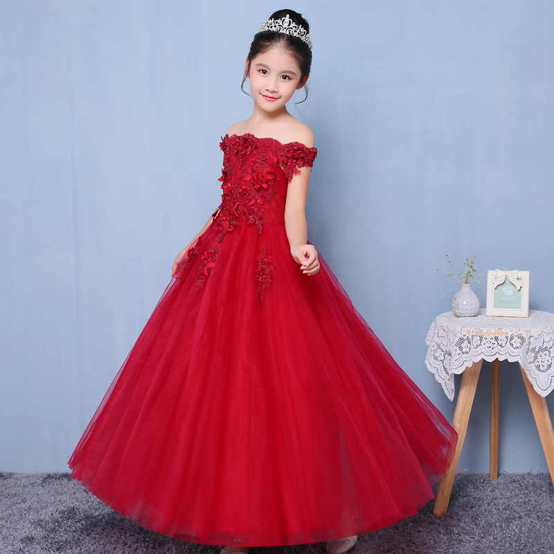 Shoulderless Flower Girl Dress Pageant Children Red Long Tulle Gowns For Party Weddings Vestido Prom Gown Kids Girl Dresses D72 handmade girls tutu dress flower girl dresses halloween costume children kids tulle dress for pageant party prom photo vestidos
