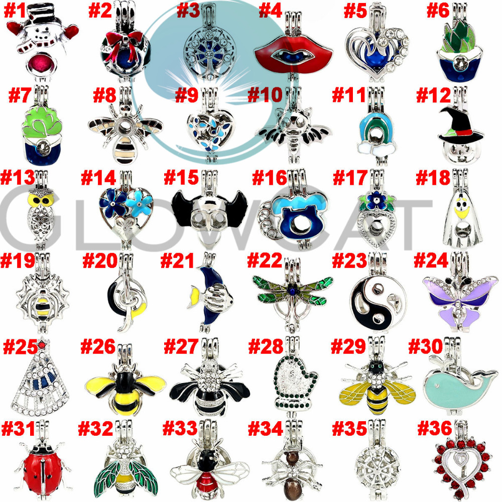 36X Christmas Colors Rhinestone Heart Snowman Tree Insect Beads Cage Perfume Diffuser Pearl Cage Locket Pendant