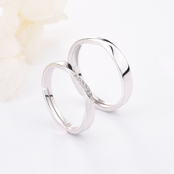 Funmor Exquisite Curved Adjustable 925 Sterling Silver Ring For Couple Women Men Wedding Engagement Decoration Accessories Gifts 1
