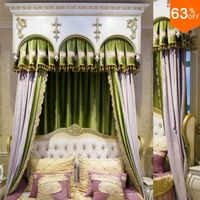 violet lavender lilac with green patchwork curtains for hotel Classic elegant Bed Room Curtains Nice new Bedroom mosquito bar