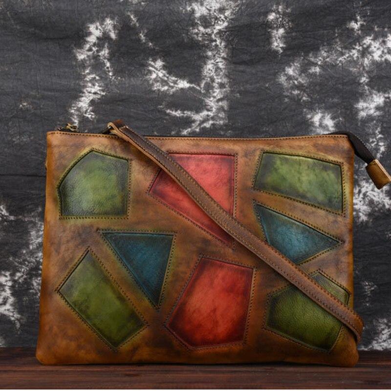 Piel Natural mujer Cruz cuerpo mensajero bolso de hombro ocio cuero genuino femenino geométrico Retro monedero bolso bolsos prácticos-in Cubos from Maletas y bolsas    1