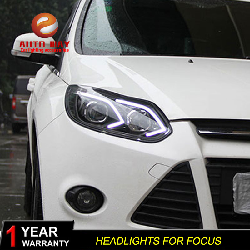 Car styling case for Ford Focus 2012-2014 Headlights LED Ford Focus Headlights DRL Lens Double Beam HID LED Headlight Xenon