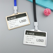 BINXUE Employee card Cover card,ID Holder Rope width 1cm identification tag,badge High-grade Metallic materials Fine machining