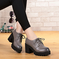 Woman shoes, women's singles shoes 2017autumn Genuine Leather high-heeled Cowhide lace casual female muffin heels, free shipping