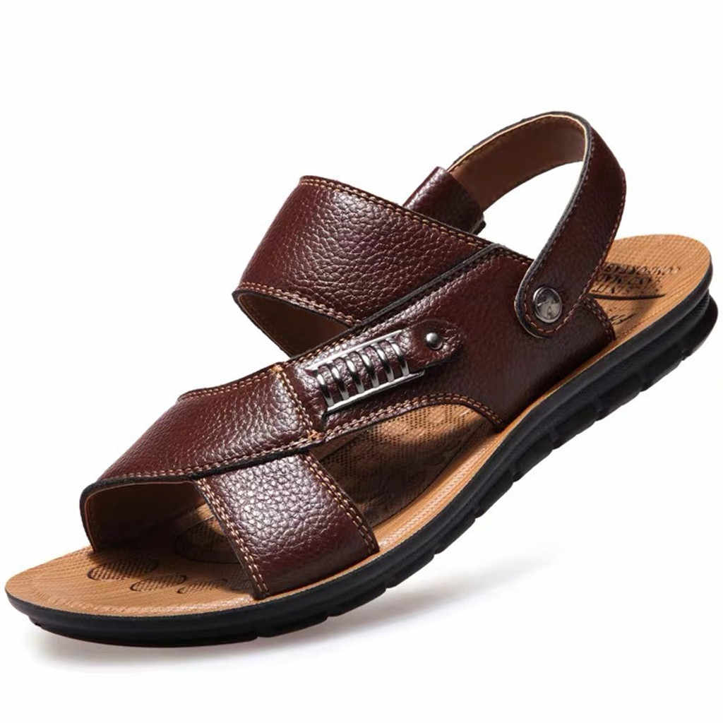 Men's Breathable Leather Super Light Men Summer Sandals Beach Slide Sandals Leather Shoes Fashion Breathable Male Footwear
