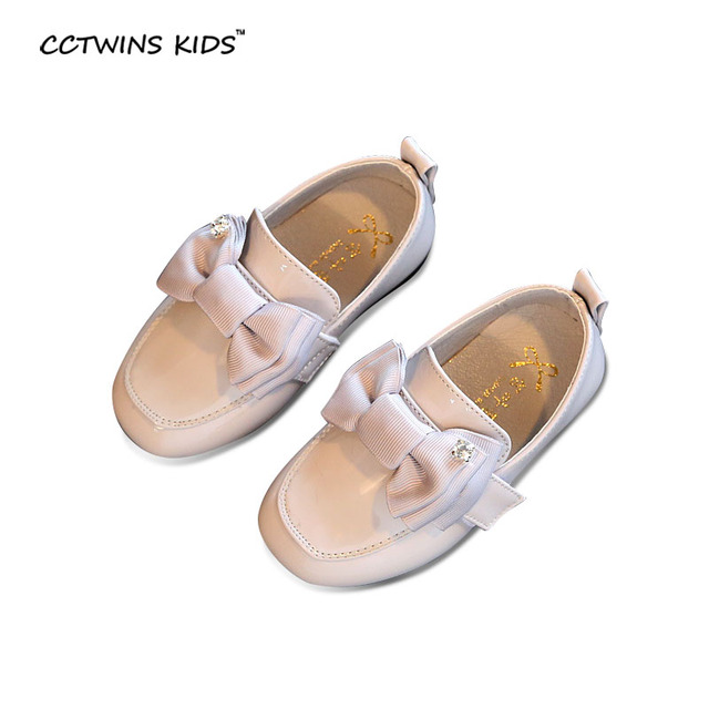 CCTWINS CRIANÇAS primavera outono crianças moda arco loafer para bebê menina sapato de couro liso pu criança strass marca mocassim G939