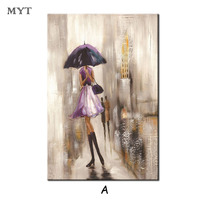 HOT sale Abstract City Street Landscape Umbrella Girl Figure on Canvas Painting Poster wall art for living room home decor