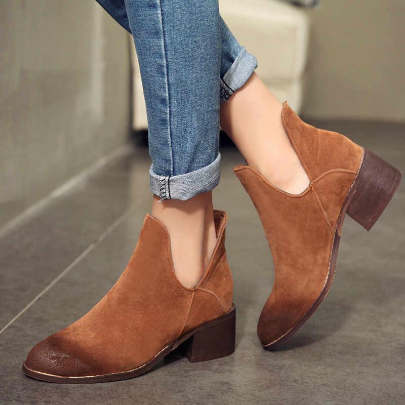 ASUMER Drop shipping Restor çizmeler kadın yuvarlak ayak kare topuk sonbahar çizmeler akın rahat bayanlar yarım çizmeler Büyük boy 34- 42