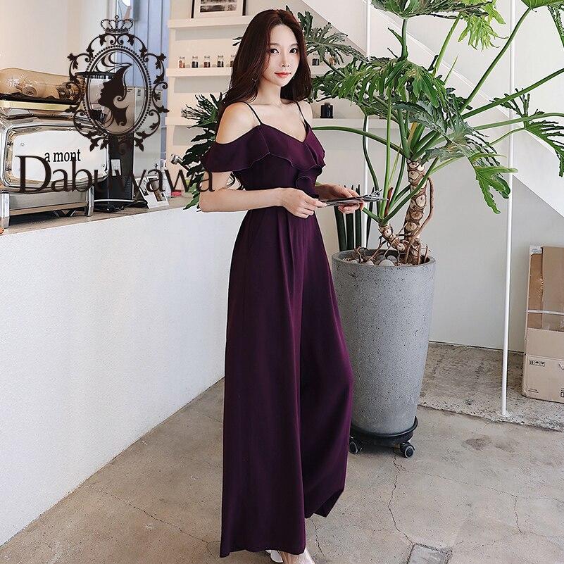 Dabuwawa Women Sexy Shoulder Strap Jumpsuit 2019 New Elegant Summer Dark Purple Full Length Loose Wide