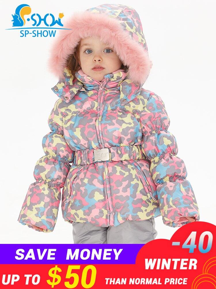 SPSHOW 3-8 Idade Infantis Meninas Roupas de Inverno Da Marca de Luxo Para Baixo Casaco De Peles Grossas de Inverno de Lã Quente Jaqueta Com Capuz + calças Terno De Esqui