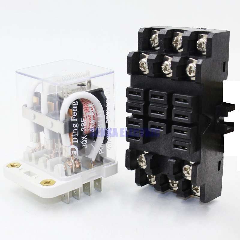 цена на DIN Rail Mount JQX-38F 3Z 40A 4PDT 11 Pin General Purpose Power Relay DC 12V/DC 24V AC 220V Coil w Socket