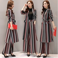 Spring And Autumn Striped 2 Piece Set Women Wide Leg Trousers Suit Set Palazzo Pants Survetement Femme 2 Piece Woman Suit