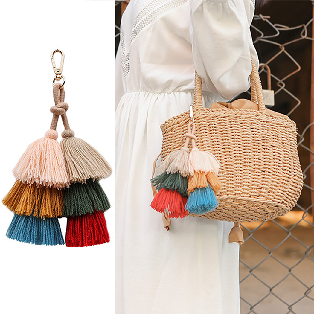 Fashion Multi-Layer Handmade Bohemian Tassel Keychain Bag Pendant Keyring Charm Wild Handbag Pendant Accessories