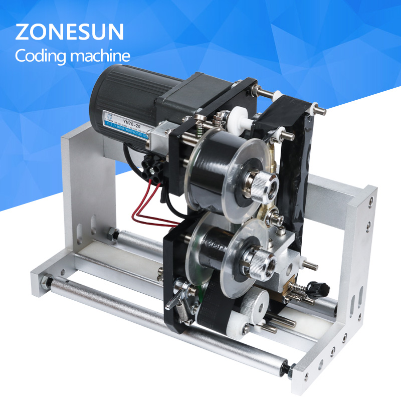 ZONESUN FREE SHIPPING expiry date ribbon coding label printer hot ribbon coder for LT-50 labeling machine zonesun lt 50t semi automatic labeling machine drugs medicine bottle with date printer labeling machine for transparent sticker