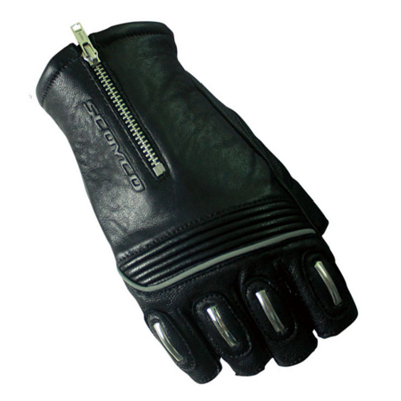 Half Finger Genuine Leather Motorcycle Gloves Motocross Off Road Racing Gloves Outdoor Dirt Pit Bike Bike