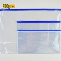 20pcs Stationery A4 A5 A6 High Quality PVC Transparent Edge Bags File Bag Office School Supplies
