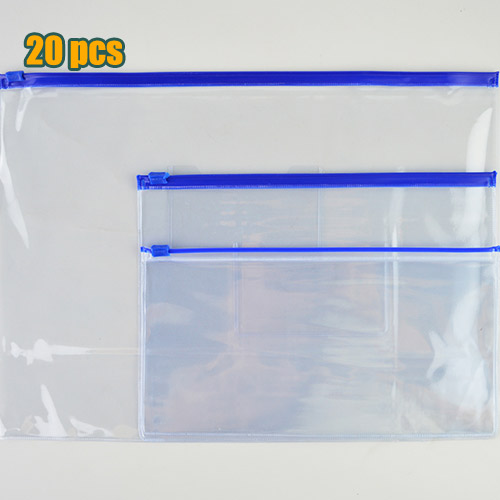 20pcs Stationery A4 / A5 / A6 High Quality PVC Transparent Edge Bags File Bag Office & School Supplies For Invoice Paper Data
