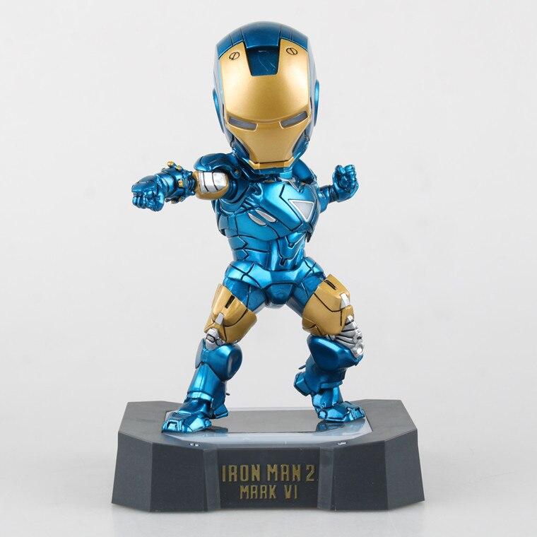 где купить Huong Movie Figure 18 CM Egg Attack Iron Man Mark VI Blue Iron Man with LED Light PVC Action Figure Collectible Toy Model по лучшей цене
