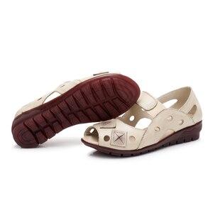 Image 5 - BEYARNE 2019New bahar yaz takozlar sandalet kadın Hollow Casual kadın ayakkabı hakiki deri sandalet kadın Peep Toe büyük SizeE334