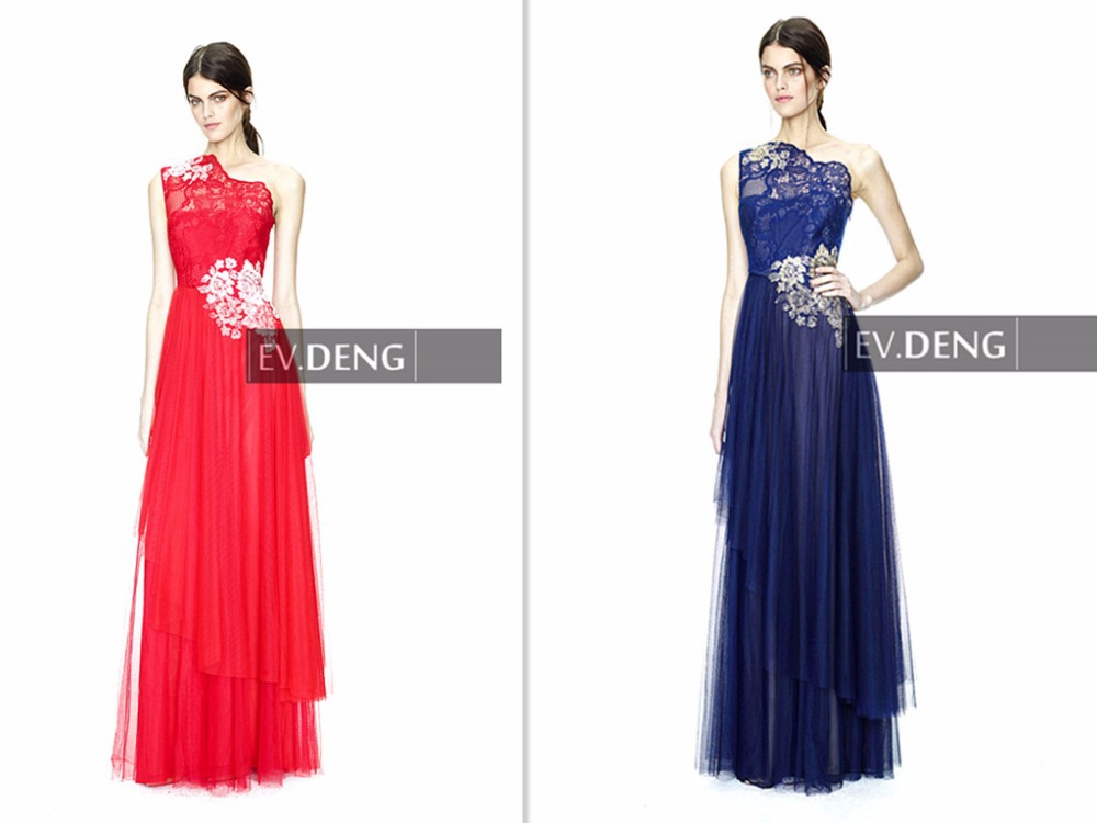 lace summer appliques one shoulder vestido de festa longo Prom Dresses 2015 tiered red long evening dress robe soiree