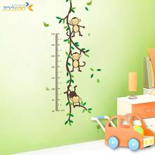 Monkeys playing on trees Height Measure wall stickers for kids rooms Kids Growth Chart wall decal