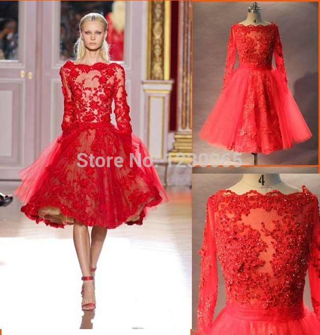 Free shipping 2015 new fashion hot sexy knee-length beading Couture Red Lace Applique A-line Long Sleeve Short Prom Dresses