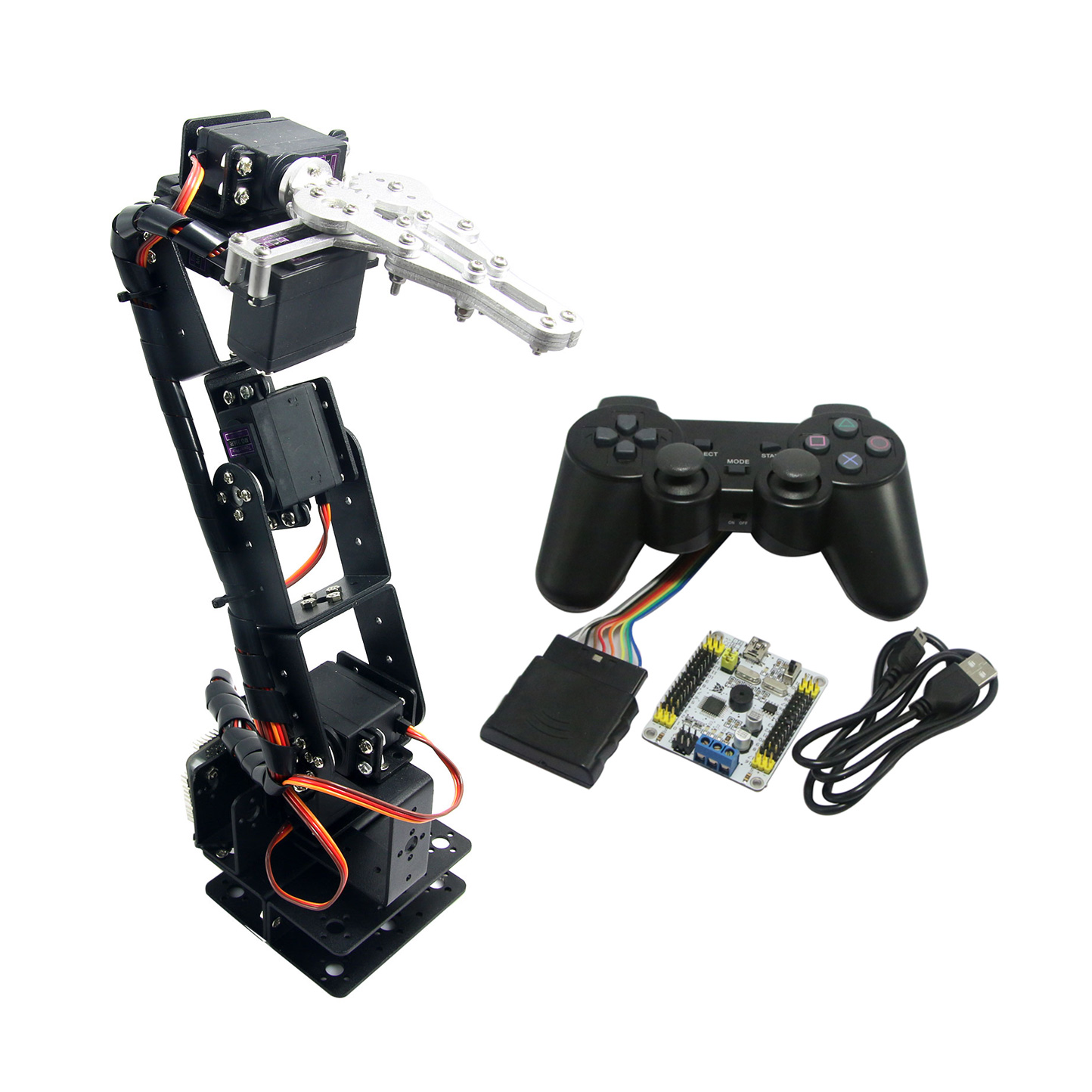Assembled 6 DOF Aluminium Mechanical Robotic Arm with Clamp Claw & LD-1501 Servos & Controller for Arduino манипулятор 6 dof 320 мм dfrobot robotic arm