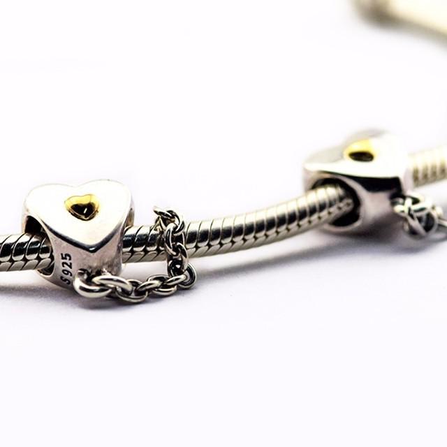 Adapta Pandora Pulseras Del Encanto de la joyería Auténtica Plata de Ley 925 del corazón y la corona de cadena de seguridad encantos de DIY Que Hace el Día de la Madre