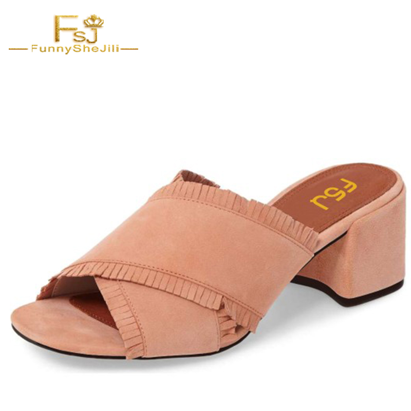 2018 Summer Brown Fringe Leisure Thick High Heel Slippers Mules Sandals Sexy Slides Causal Flip flops Shoes Woman FSJ Plus 16