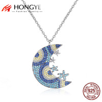HONGYE Lovely Design 925 Sterling Silver Jewelry Mutliple Star Moon With Mirco Paved Cubic Zircon Necklace Pendant Girls Gift