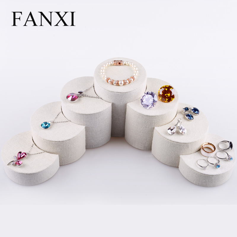 Fanxi 7 PCS/Set Round&Moon Shape Beige Linen Stand Earrings Ring Necklace Bracelet Display Holder multifunction jewelry Sets