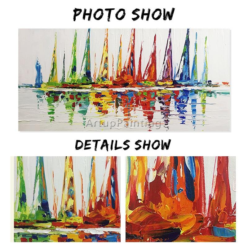 Akrylowy jacht statek łódź żeglarstwo malarstwo ręcznie malowane - Wystrój domu - Zdjęcie 5