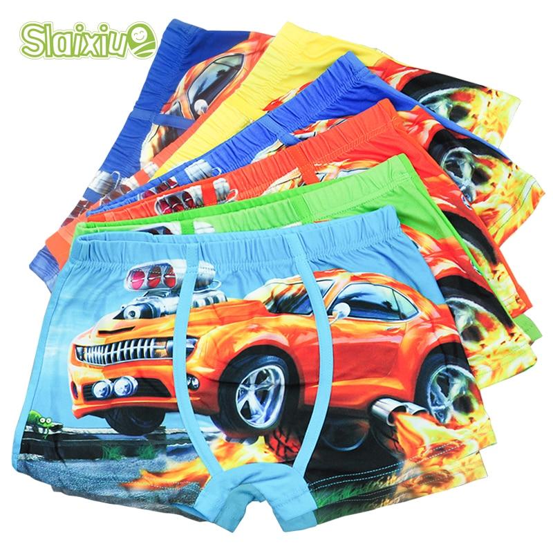 5 Pcs/lot Cartoon Car Kids Boy Underwear For Baby Children's Boxer Underpants Briefs Boys Underware Pants For 3-11 Y