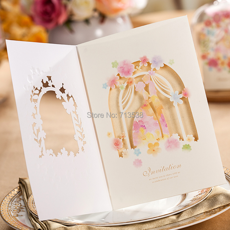 Aliexpress Buy 10pcs Personalized Laser Cut Flower Groom And – Personal Wedding Invitation Cards