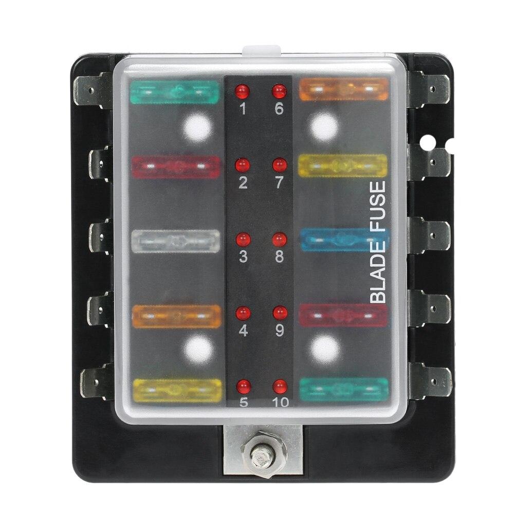10 Way Blade Fuse Box Titular com DIODO EMISSOR de Luz de Advertência do  Trike Kit