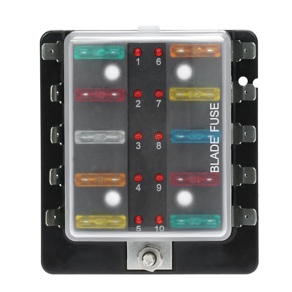 10 way blade fuse box holder with led warning light kit. Black Bedroom Furniture Sets. Home Design Ideas
