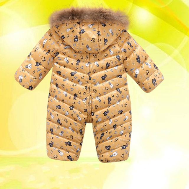 High quality ! 2016 New brand winter outerwear baby rompers duck down coat for newborn snowsuit infant costume , big nature fur